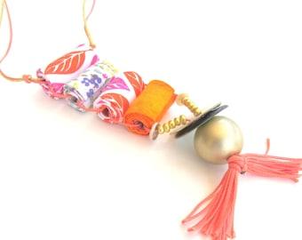 Long colorful fun necklace, fun fashion necklace, fun jewelry, cool fiber jewelry