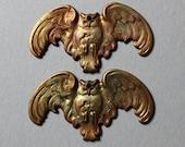 Oxidized Brass Owls In Flight Charms Pendants