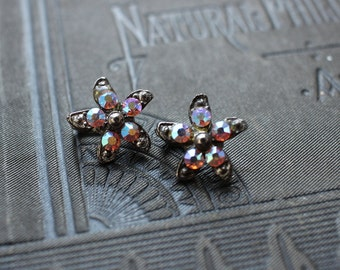 Swarovski Crystal Starfish Slider Charms - Oxidized Silver And Aurora Borealis Swarovski Crystals