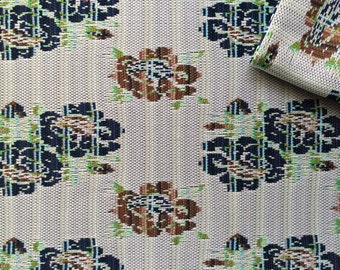 Vintage Fabric 60's Polyester, White, Brown, Green, Navy, Large Floral, Printed, Material, Textiles
