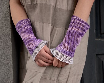 Viola - crocheted open work lacy romantic multicolored layered wrist warmers mittens cuffs