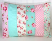 Throw Pillow Cover, Nursery Cushion Cover, Shabby Chic Nursery Decor, 12 x 16 Inches, Baby Pink, Aqua Blue, Flowers, Floral, Roses