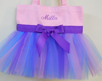 Dance bag, ballet bag,  Naptime 21 Embroidered Pink Tote Bag with Pink, Purple & Turquoise Tulle and Purple Ribbon Tutu Tote Bag -TB83 Pr Sc