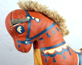Vintage 1930s Antique VTG Plush Stuffed Animal Pony Horse Hand Made Toy Folk Art