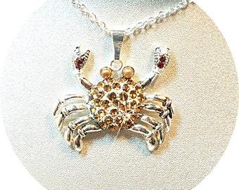 Crab Pendant, Cancer the Crab, Zodiac Crab, Topaz Crab, Jeweled Crab, Crab Necklace, July Birthday, July Zodiac, Zodiac Jewelry