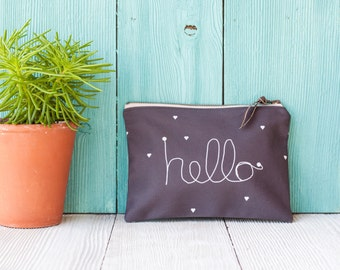Zipper Pouch / Hello Zipper Pouch / Cotton Canvas / Canvas Pouch / Wristlet / Bags & Purses / Clutch / Pencil Pouch /
