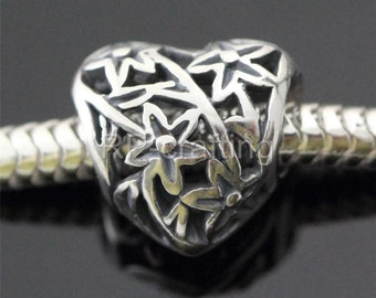 1 Authentic Sterling Silver Charm Blossoming Love Heart bead For European charm bracelet #EC239