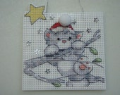 Cross Stitched Christmas Cat On A Branch #2 Ornament Completed