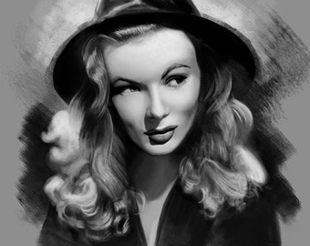 Veronica Lake Classic Portrait Painting - Print