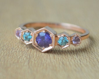 Five Stone Hexagon Ring in 14 K Rose Gold with Purple Sapphire and Green Tourmaline