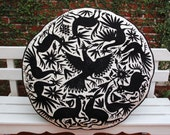 Round Black and Beige Otomi and Indian Wood Block print fabric Floor Cushion