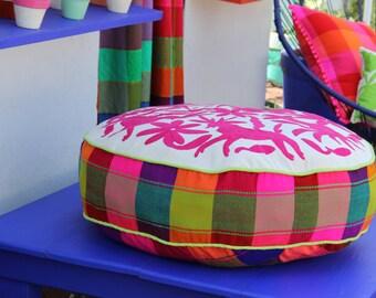 Round Fucshia Pouf  Ready to ship original Floor Cushion Pet Bed