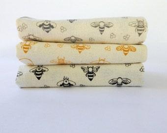Tea Towel, Hand Printed, Bee Prints, 3 Natural Cotton Towels