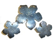 Sweet Hand Wrought Sterling Silver Flower Brooch and Clip On Earrings. Vintage 1960s.