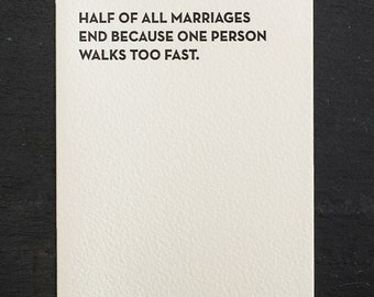 fast walker. letterpress card. #906