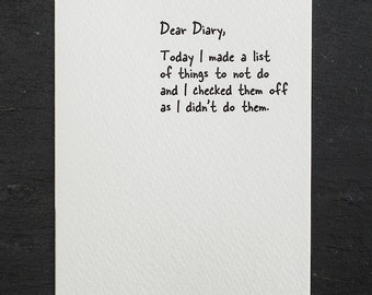 not to do list. letterpress card. #851