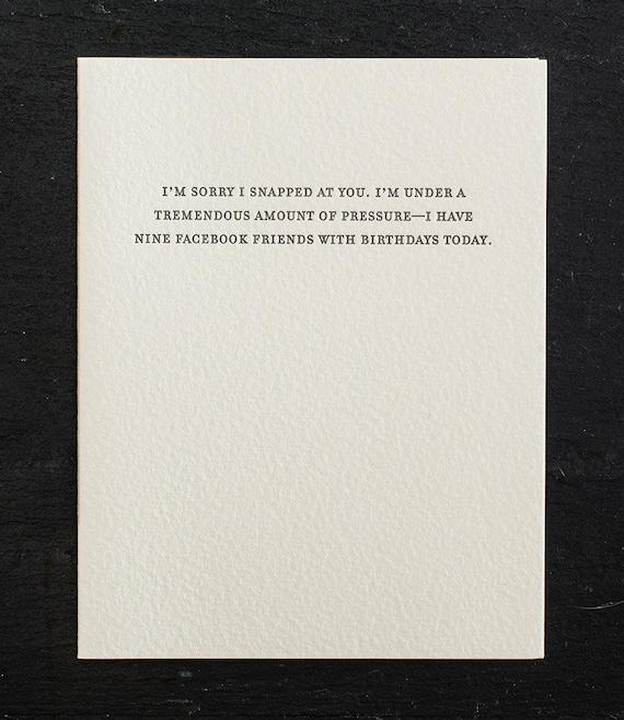 facebook friends. letterpress card. #793