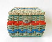 Vintage Sewing Basket with satin lining, Woven reeds painted twisted paper, Faux wicker Green orange blue Craft supply storage Wicker basket