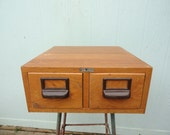 Vintage Index Card File Library Cabinet Drawers Oak Wernicke