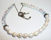 Sterling Silver Pearls and Vintage Crystals Necklace on Etsy by APURPLEPALM