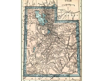 Utah state map for download and diy printing.  Pastel pink and blue from the 1920s.