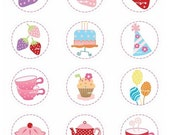 ON SALE Tea party circle set clip art - SALE Digital clip art for all use,  Instant download