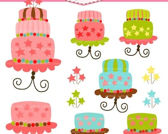 ON SALE Cute cake clipart, birthday cake clip art, Digital clip art, cake, instant download clip art