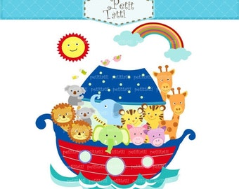 ON SALE Digital clip art Noah's ark 2 blue red clip art - Noah's ark scene, Noah's ark clip art, noah ark, cute animals clip art