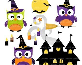 ON SALE Halloween Owl Clip Art Clipart // Digital clip art Halloween owl, Halloween Castle Clip art, INSTANT Download