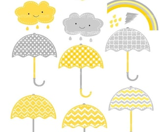 ON SALE Umbrellas clip art - Digital clip art, umbrella clipart, rainy season clip art, yellow and gray clip art, instant download clip art