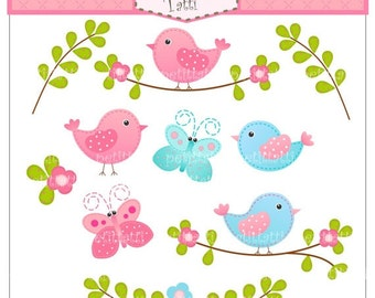 ON SALE! Birds and Butterfly clipart - cute Digital clipart, instant download