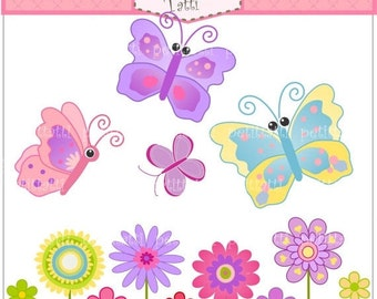 ON SALE Butterfly and flowers Digital clip art - purple butterfly, flowers clip art, pink, blue, purple, instant download clip art