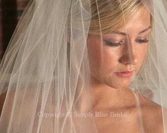Bridal Blusher, Diamond White Veil, Raw Edge Veil - READY to SHIP
