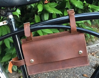 READY TO SHIP Leather Bicycle Bag, Brown Leather Bike Bag, Brown Leather Bag, Leather Bag, Bike bag, Cycling, Bike Accessory, Bicycle, Bike