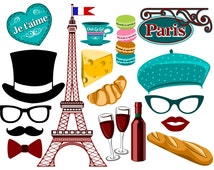 Paris inspired digital photo booth props Instant download