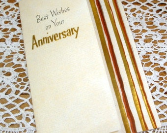 Vintage Anniversary Greeting Card, Best Wishes,  Hallmark  (523-15)