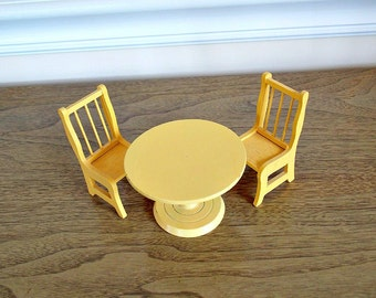 Dollhouse Table and Chairs, Miniature Table, Chairs, Kitchen Set, Miniature Dollhouse Furniture, Vintage Toys, Wood Furniture, Yellow