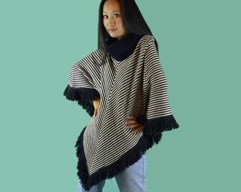 Vintage 60s Poncho / Womens Chevron Stripe Sweater Poncho / Cowel Neck Sweater Pullover Poncho / Black & White Stripe Hippie Poncho S / M