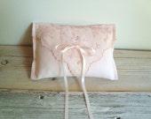 Ringbearer pillow in pink blush vintage handkerchief