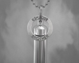"Silver CREMATION URN with BROTHER Pendant on 24"" Ball-Chain Necklace - Includes Velvet Pouch and Fill Kit"