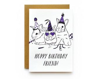 Hoppy Birthday - letterpress card