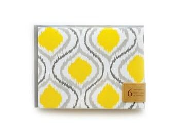 Ikat Letterpress Cards, set of 6