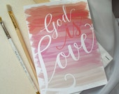 Coral & Pinks Watercolor God IS Love Wedding Invitation Set - Sample