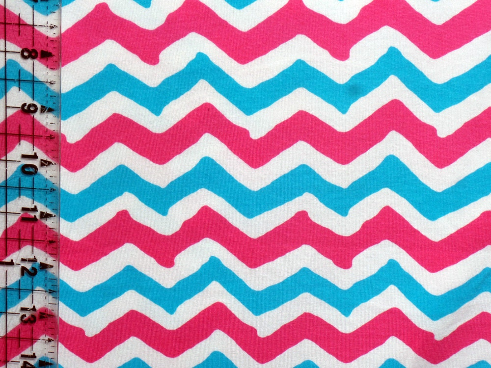 Kids cotton knit fabric chevron bright pink blue white for Bright childrens fabric