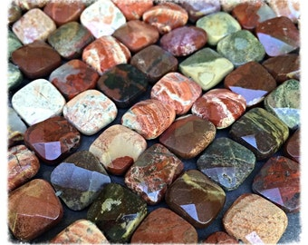 Brick Red Jasper Faceted Gemstones, 16 Beads, 12mm
