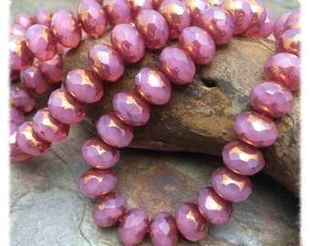 Rose Opal 6x8mm Czech Glass Rondells, with the Wow Factor from Dream Girl Beads