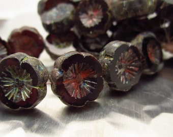 Midnight Amethyst Picasso, Chunky Picasso Carved 15mm Flower Beads
