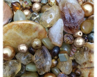 Golden Gemstone Mega Mix BESTSELLER with Citrine, Jade and Jasper plus more