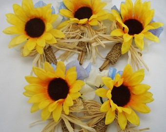 Burlap Sunflower Boutonnieres, Set of 5 Made to Order, Woodland Wedding, Silk, Rustic, Groom, Groomsmen Buttonhole Flowers, Best Man Florals