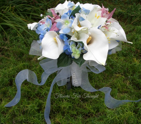 SALE - White Calla Lily and Blue Hydrangea Bridal Bouquet, Silk and artificial Wedding Flowers for a bride, FFT design